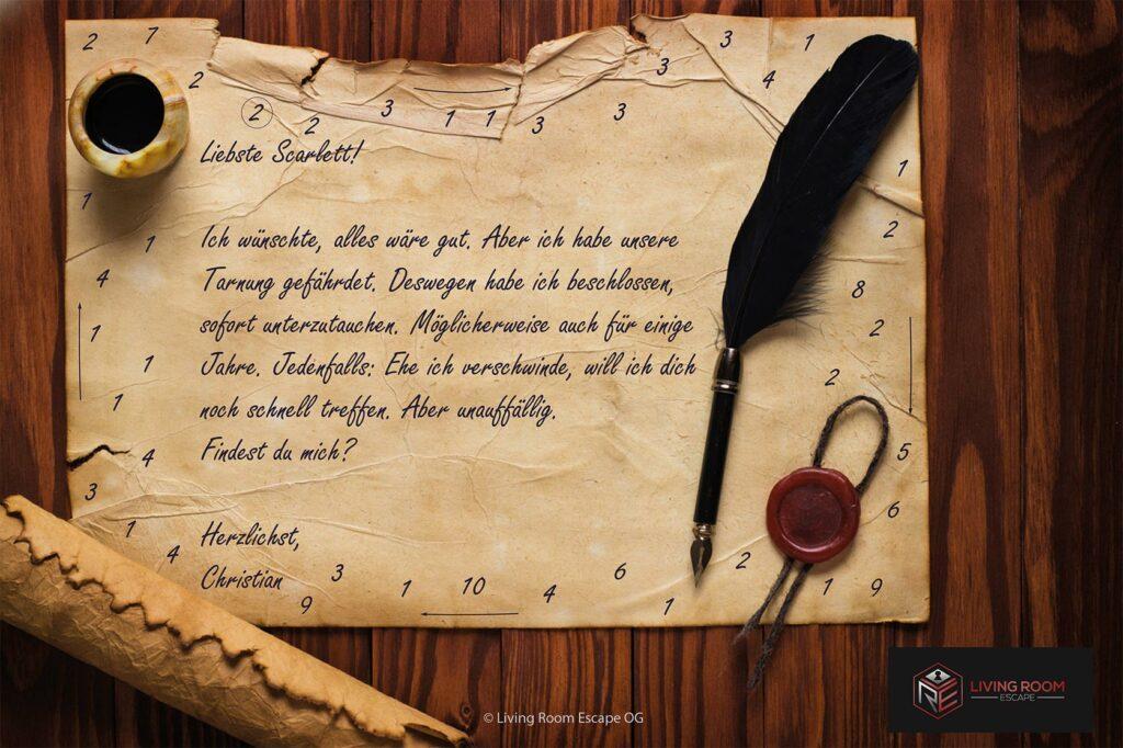 Altes Stück Pergament mit Zahlen am Rand und einer verschlüsselten Nachricht in der Mitte, in der ein Treffpunkt versteckt ist.
