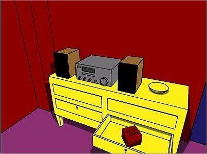 Ausschnitt aus dem Browser-Spiel Crimson Room. In einer gelben Kommode liegt in einer offenen Lade eine Box.