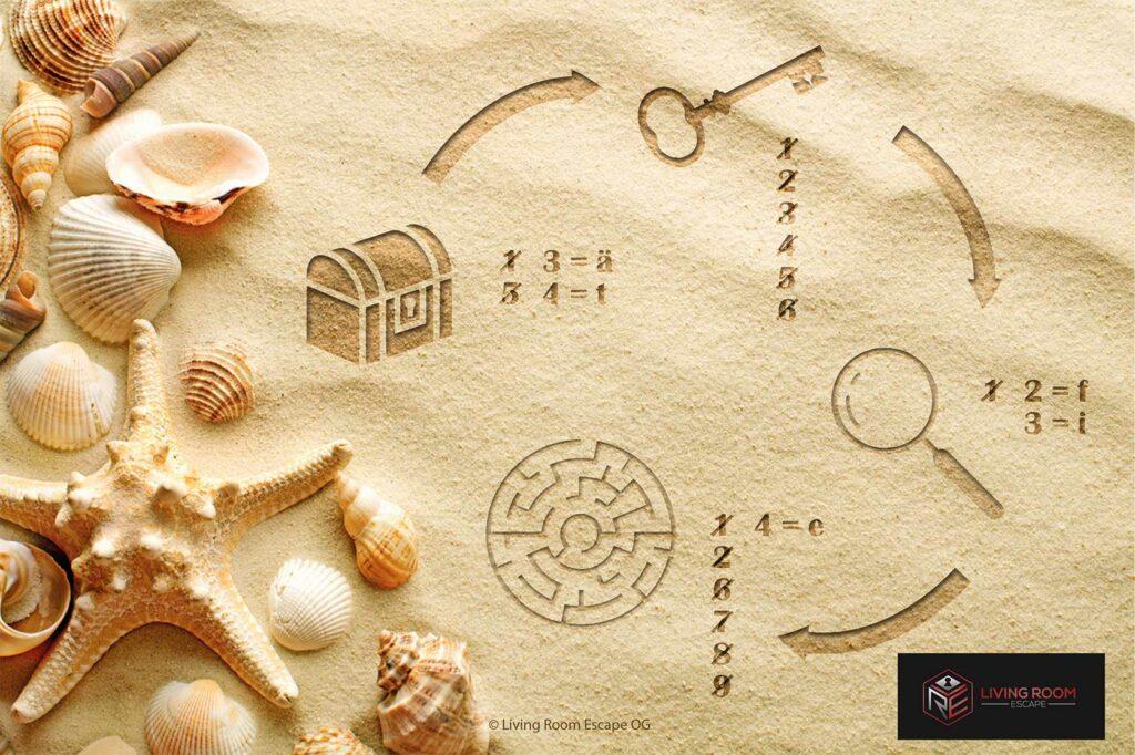 Sand mit Muscheln und Rätsel mit verschiedenen Symbolen und Pfeilen